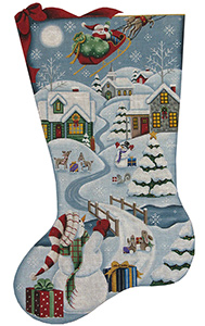 Christmas in the Village Hand Painted Stocking Canvas from Rebecca Wood