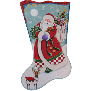 Santa's Puppy Hand Painted Stocking Canvas from Rebecca Wood