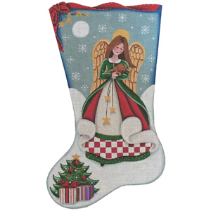 Angel's Puppy Hand Painted Stocking Canvas from Rebecca Wood
