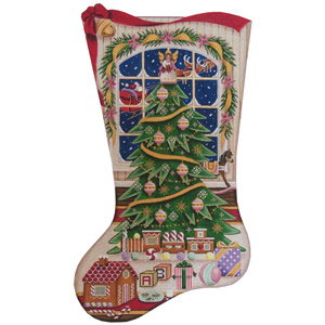Christmas Magic (Girl) Hand Painted Stocking Canvas from Rebecca Wood