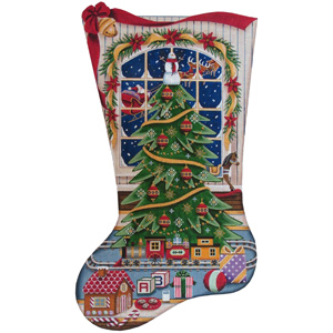 Christmas Magic (Boy) Hand Painted Stocking Canvas from Rebecca Wood