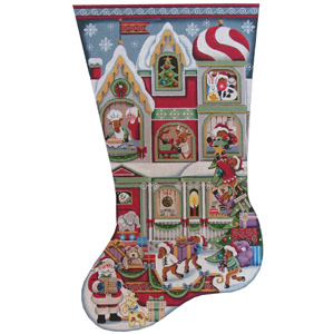 Santa's Helpers Hand Painted Stocking Canvas from Rebecca Wood