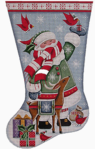 Cardinal Santa Hand Painted Stocking Canvas from Rebecca Wood