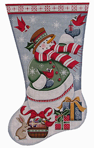 Snowman Presents Hand Painted Stocking Canvas from Rebecca Wood