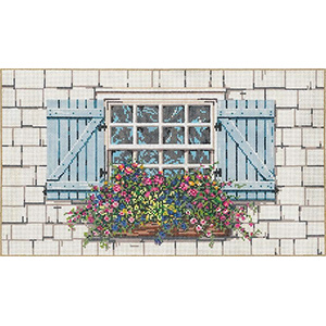 Window Garden - Stitch Painted Needlepoint Canvas