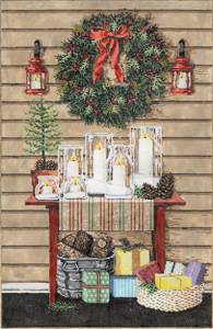 Christmas Glow- Stitch Painted Needlepoint Canvas from Sandra Gilmore