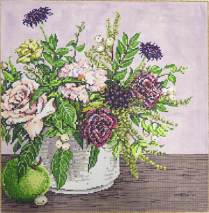 Floral with Apple - Stitch Painted Needlepoint Canvas from Sandra Gilmore