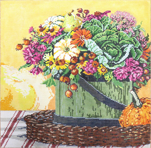 Floral with Gourd- Stitch Painted Needlepoint Canvas from Sandra Gilmore