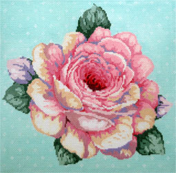 Full Bloom (14 Count) - Stitch Painted Needlepoint Canvas from Sandra Gilmore