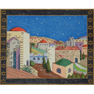 Jerusalem Tallis - Stitch Painted Needlepoint Canvas from Sandra Gilmore