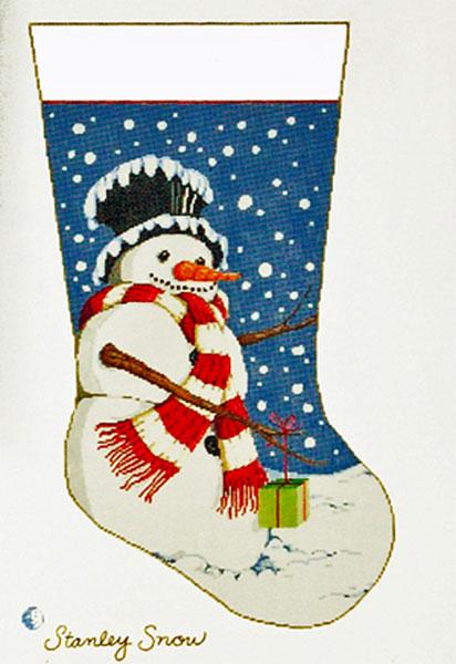 Stanley Snow - Stitch Painted Needlepoint Christmas Stocking Canvas