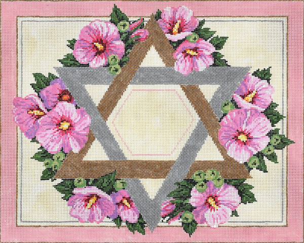 Rose of Sharon- Stitch Painted Needlepoint Canvas from Sandra Gilmore