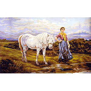 Lady and the White Horse  - Collection d'Art Needlepoint Canvas