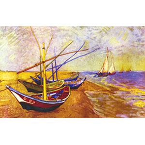 Fishing Boats of St. Maries, Vincent van Gogh  - Collection d'Art Needlepoint Canvas
