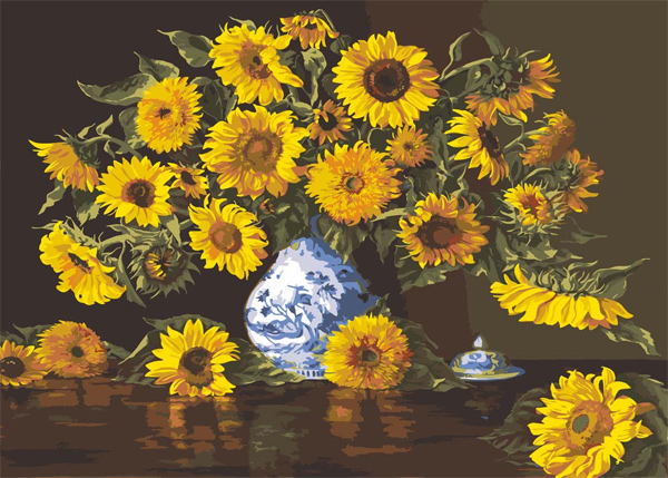 Sunflowers in a Blue Vase  - Collection d'Art Needlepoint Canvas