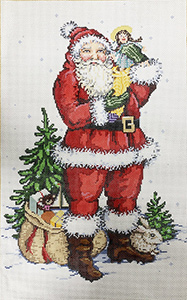 A Doll for Santa Stitch Painted Needlepoint Canvas from Sandra Gilmore