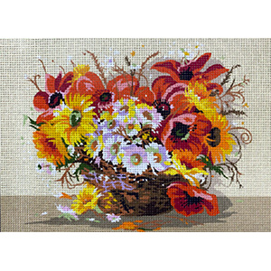 Royal Paris Needlepoint Basket of Flowers Canvas