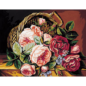 Royal Paris Needlepoint Basket of Roses Canvas