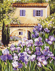 Royal Paris Needlepoint House of Irises Canvas