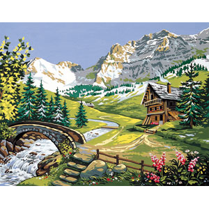 Royal Paris Needlepoint Mountain Stream Canvas