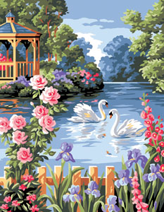Royal Paris Needlepoint Flowered Pond Canvas