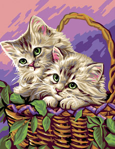 Royal Paris Needlepoint Basket of Kittens Canvas