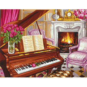 Royal Paris Needlepoint Scene de Piano (Piano Scene)
