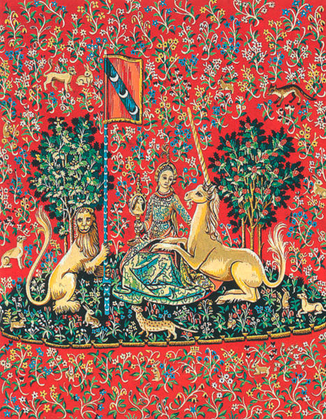 "Margot Creations de Paris Needlepoint (Dame a la Licorne ""La Vue"") The Lady and the Unicorn ""Sense of Sight"" Large Canvas"