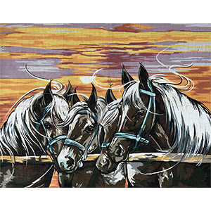 Margot Creations de Paris Needlepoint Les Percherons Large Canvas