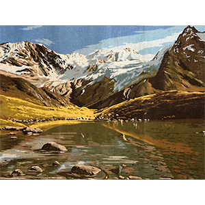 Margot Creations de Paris Needlepoint Lac de Montagne d'apres Noel (Mountain Lake by Noel) Large Canvas