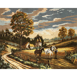 Margot Creations de Paris Needlepoint The Labors of Autumn by Don Vaughan Large Canvas