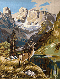 Margot Creations de Paris Needlepoint Deer Mountain Large Canvas