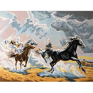 Margot Creations de Paris Needlepoint Chevaux Sauvages (Wild Horses) Large Canvas