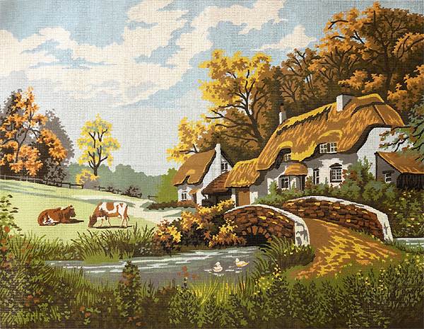 Margot Creations de Paris Needlepoint The Cottage by Glynn Carter Large Canvas