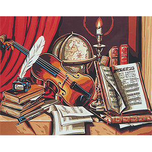 Margot Creations de Paris Needlepoint (Composition au Violon) Violin Composition Large Canvas