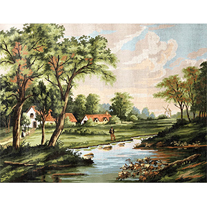 Margot Creations de Paris Needlepoint La Rive(On the Bank) by F.W. Watts Large Canvas