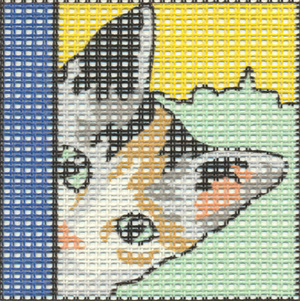 Margot Creations de Paris Needlepoint - Kits for Children - Peek-a-boo Kitten