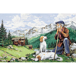 Royal Paris Needlepoint - (Le Vieux Montagnard) Old Man of the Mountain or Old Mountaineer Large Canvas