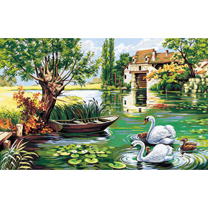 Royal Paris Needlepoint - Mill Swans Canvas