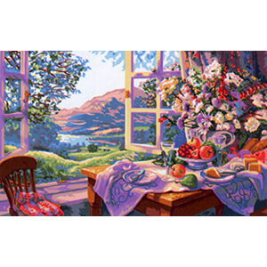 Royal Paris Needlepoint - Fleurs Sauvages et vin d'ete de Stephen Darbishire (Wildflowers & Wine of Summer by Stephen Darbishire)