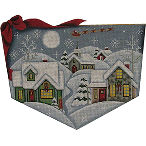 Christmas Eve Hand Painted Stocking Topper Canvas from Rebecca Wood