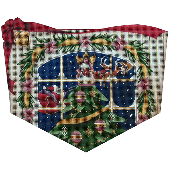 Angel Tree Hand Painted Stocking Topper Canvas from Rebecca Wood