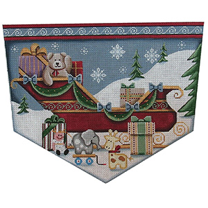 Teddy in the Sleigh Hand Painted Stocking Topper Canvas from Rebecca Wood
