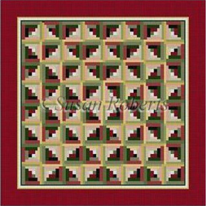 Log Cabin Quilt in Red Hand Painted Canvas by Susan Roberts