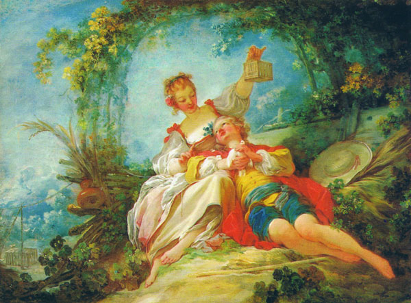 Happy Lovers by Jean-Honore Fragonard, French, 1732-1806  - Collection d'Art Needlepoint Canvas