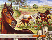 Margot Creations de Paris Needlepoint - Large Canvases - (Chevaux au Galop) Horses at the Gallop Large Canvas
