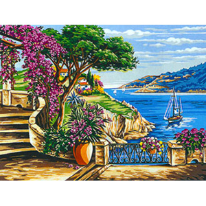 Margot Creations de Paris Needlepoint - Large Canvases - (La Tonnelle aux Bougainvillees) Arbour with Bougainvilleas Large Canvas