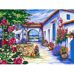 Margot Creations de Paris Needlepoint - Large Canvases - (Le Vieux Puits) The Old Well Large Canvas