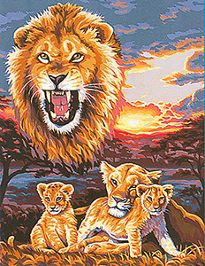 Margot Creations de Paris Needlepoint - Large Canvases - Les Lions (The Lions)