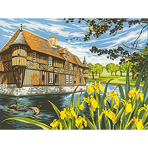 Margot Creations de Paris Needlepoint - Large Canvases - Le Manoir aux Iris (The Manor with the Irises)